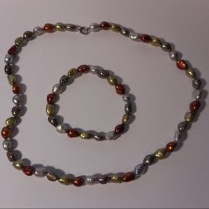 Jewelry - Earth Tone Freshwater Pearl Bead Necklace Bracelet
